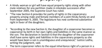 Daughters have equal property rights rules Supreme Court